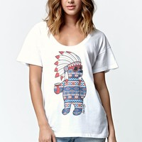 Riot Society Headress Bear Boyfriend T-Shirt - Womens Tee - White