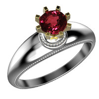 Solitaire Engagement ring Ruby ring Contour ring 18K Yellow & White gold Engagement gift