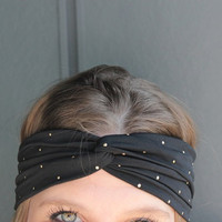 Black with Gold Stud Polka Dots Turban Twist Boho Headband