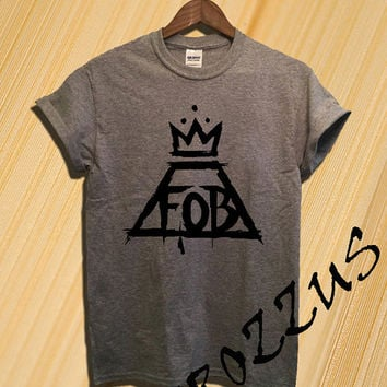 Official Fall Out Boy Shirt FOB Logo Shirt T-shirt Tee Shirt Black Grey and White Color Unisex Size - NK60
