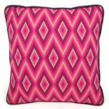 Pink Pillow - Vintage Bargello Pillow, Bright Neon Pink & Fuchsia Diamond Pattern Crewel Embroidery, 1970s Op Art, Shocking Pink