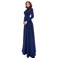 Lady full Autumn Dresses Women Chiffon Long Sleeve Slim Fit Dress Party Long Maxi Gown floor length Dresses
