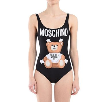 "Hot Sale ""Moschino"" Trending Stylish Women Classic Letter Bear Print Backless One Piece Bikini Swimsuit Bathing Black I12134-1"