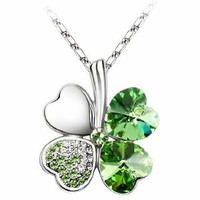 KATGI Fashion White Gold Plated Austrian Crystal Lucky Four Leaf Clover Pendant Necklace