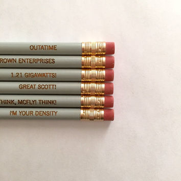 Back to the future pencil set of 6. engraved pencils. as you wish.