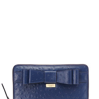 Kate Spade Charm City Ostrich Zip Travel Wallet French Navy ONE
