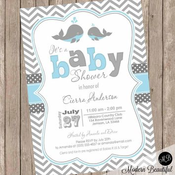 Baby blue and gray whale baby shower invitation, chevron invitation, baby shower invitation, whale baby shower, boy, printable invitation