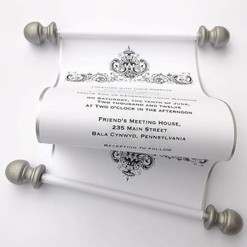 Elegant wedding invitation scroll, antique damask, black and white wedding, silver scroll, romantic wedding, rococo wedding, 25