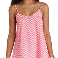 NEON CHEVRON SWING TANK TOP