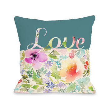 Floral Love Script Throw Pillow by OBC