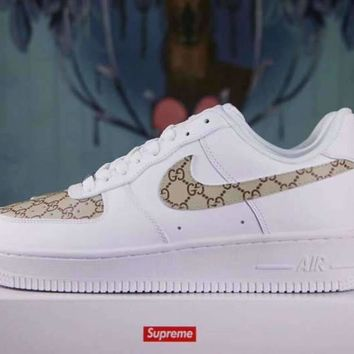 NIKE Air Force 1 Sup x Gucci White For Women Men Running Sport Casual Shoes Sneakers