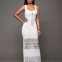 Women fashion Sexy Maxi Dress Summer Sleeveless bodycon lace floral patchwork solid slim long dress