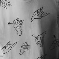 hand with cigarette design tshirt
