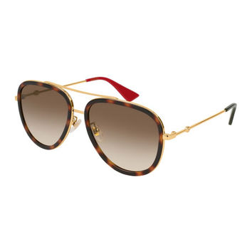 Gucci Metal Gradient Round Sunglasses, Gold/Brown
