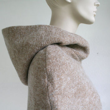 Hooded wool scarf // cowl // cape // poncho, light beige wool blend, winter cape