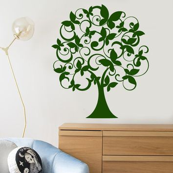 Vinyl Wall Decal Cartoon Magic Butterfly Tree Nature Nursery Room Decor Stickers Unique Gift (1942ig)