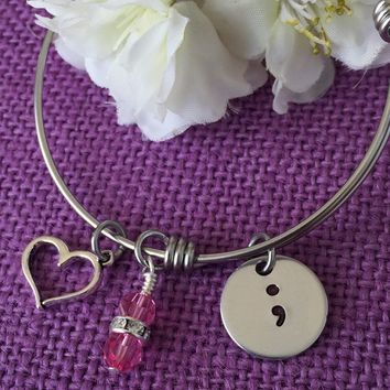 Semicolon Bracelet - Semicolon Jewelry - Suicide Awareness - Suicide Prevention - Expandable Bracelet - Birthstone