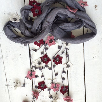 Silk Wrap Scarf, Gray Boho Silk Wrap Necklace Scarf, Crochet Oya Flowers Foulard Beaded Jewelry Necklace Scarf Beadwork ReddApple