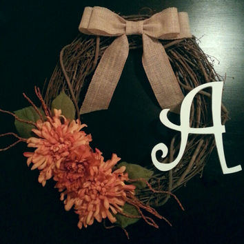 Grapevine Door Wreath, Fall Wreath, with a White Monogram, Fall, Orange Floral and a Burlap Bow