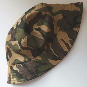 Mens Women Cotton Bucket Hat Summer Camouflage Fishing Beach Festival Sun Cap