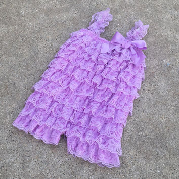 Baby romper, lavender romper,baby girl clothes,birthday outfit,1st birthday,baby romper,baby girl,purple,lace,outfit,photo prop, Onesuit