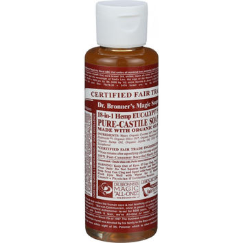 Dr. Bronner's Pure Castile Soap - Fair Trade and Organic - Liquid - 18 in 1 Hemp - Eucalyptus - 4 oz