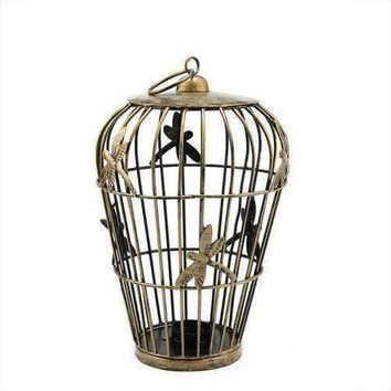 "12"" Decorative Copper Finish Birdcage Tea Light Candle Holder Lantern with Dragonfly Accents"