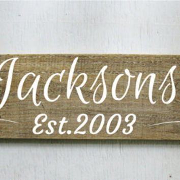 Family Est. Sign Rustic Wood Sign  Established Sign  Wood Family Name Sign