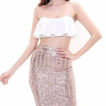 One Less Problem White Gold Geometric Sequins Strapless Crop Ruffle Tank Bodycon Midi Two Piece Dress
