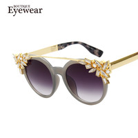 BOUTIQUE Women Brand Design Butterfly Cat Eye Sunglasses Vintage Brand Designer Crystal Diamond Frame Sunglasses k9107