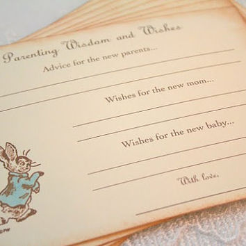 Parenting Advice Cards Peter Rabbit Baby Shower Activity Game Cards Baby Wishes