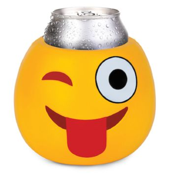 Crazy Wink With Tongue Emoji Drink Kooler Koozie