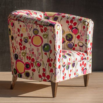 1/4 scale Doll Tub Chair with Bright Coloured Floral Upholstery, Kawaii Doll Armchair, Upholstered  Modern Playscale Furniture for BJD