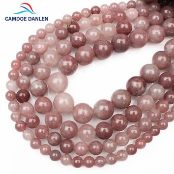 CAMDOE DANLEN 2017 Natural Stone Pink Lepidolite  6 8 10 12mm Round Loose Beads DIY Jewellery Beads For Jewelry Making Necklace