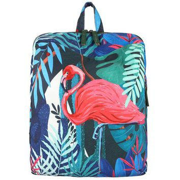 VONE7HQ Tropical Rain Forest Koala And Flamingo Print Backpack