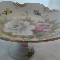 Vintage China Shabby Chic Pedestal Candy Dish Sweet Dish Fruit Bowl Cottage Style Pink Grey Roses Japan Vintage Japanese