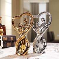 shiny porcelain couple sculpture home decoration ceramic wedding figurine collectible ceramic wedding gift for friends