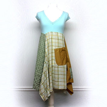 Upcycled Clothing, Boho Chic Clothing, Shabby Chic Dress, Country Chic Dress, Anthropologie Style Patchwork Dress by Primitive Fringe