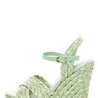 Mia Stella Seafoam Raffia Braided Wedge Sandals
