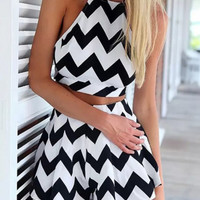 Chevron Print Halter Crop Top High Waist Shorts Set