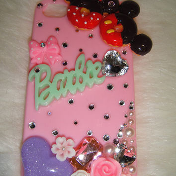 bling pink mickey mouse iPhone 4 i phone case made with Swarovski Crystal