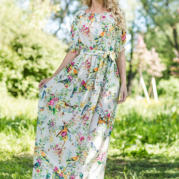 Floral dress Maxi 100% Viscose  /  High Quality Designer summer dress.  White dress, plus size maxi dress, off shoulder