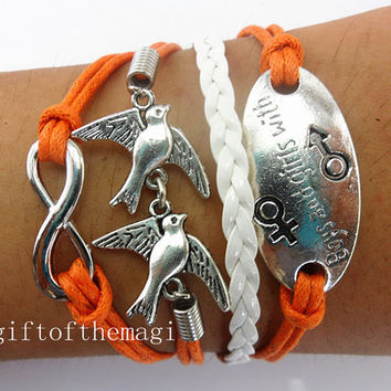 free birds,boys and girls with,&infinity karma charm Bracelet Antique silver--Wax Cords Leather bracelet friendship gift 652