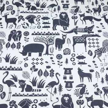 Cartoon Color Black and White Lion Giraffe Fox Flamingo 100% Cotton Twill Cloth Fabric for DIY Bedding Cushions Apparel Quilting