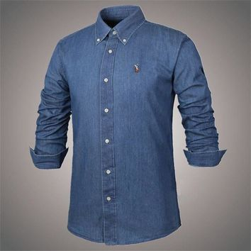 Ralph Lauren Men's Denim Shirts Small Pony Embroidery 160542-01