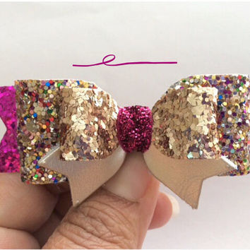 Glitter Bows, Rose Gold Fuchsia Multicolor Glitter Hair Bow, Birthday Sparkling Hair Clip, Leather Bow, Rainbow glitter Hair clip, clippies