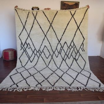 SEISMIC WAVES 7x10 Beni Ourain Rug, Berber Genuine rug, Moroccan rug, Teppich Berber. Mid Century Modern Danish Design Compliment.