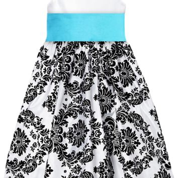 Black Velvet Flocked Damask on White Taffeta Dress with Aqua Blue Sash (Girls 2T - Size 12)