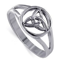 925 Sterling Silver Polished Finish Minimal Triquetra Filigree Celtic Knot Ring