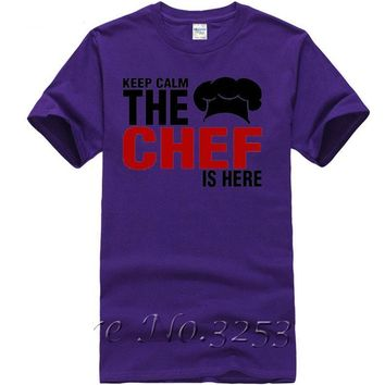 Keep Calm The Chef Is Here T-Shirts - Men's Crew Neck Novelty Top Tee